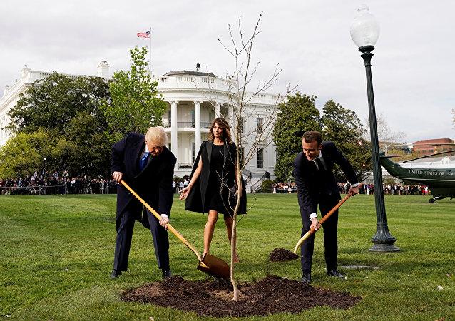 ABD Başkanı Donald Trump- First Lady Melania Trump- Fransa Cumhurbaşkanı Emmanuel Macron