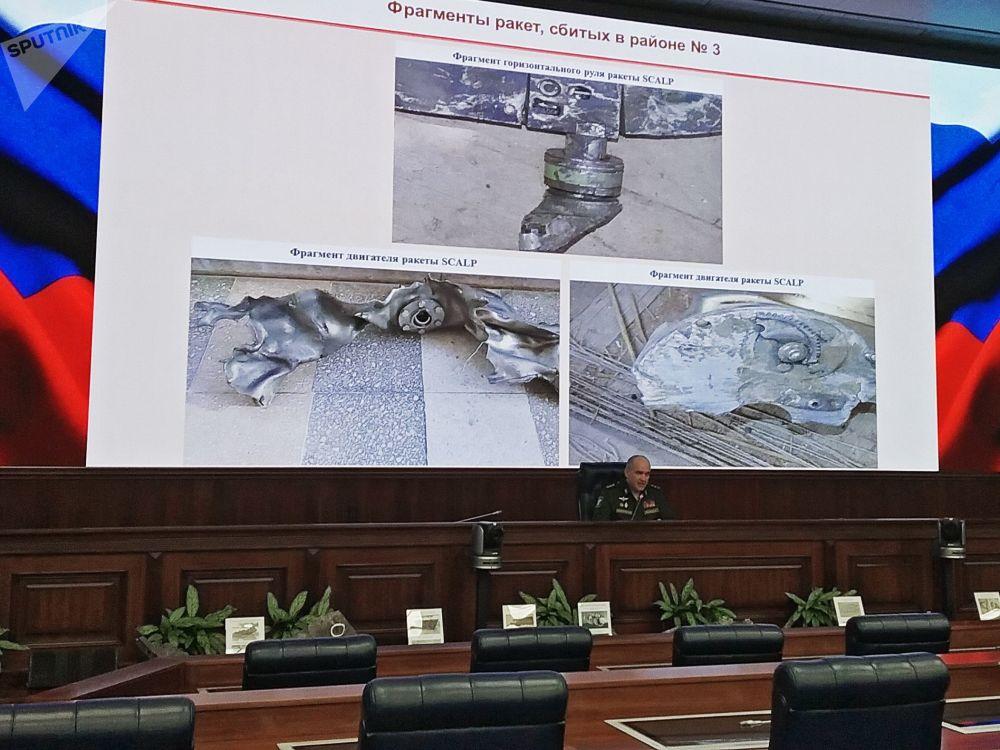 Rusya Genelkurmay Başkanlığı, etkisiz hale getirilen SCALP füzelerinin parçalarını sergiledi.