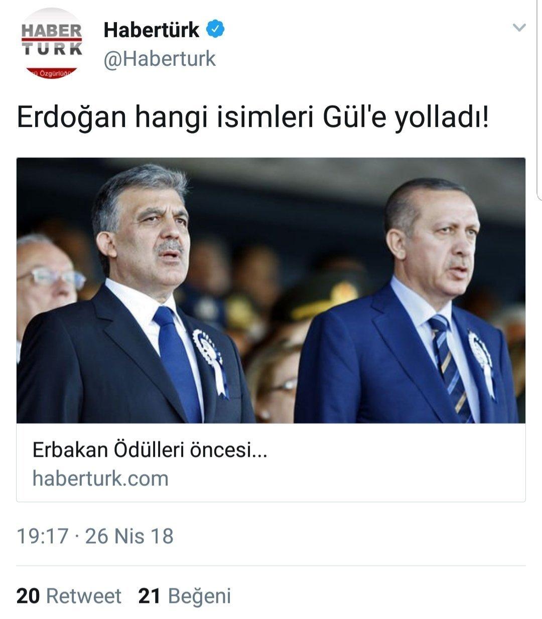Habertürk'ün 'Erdoğan hangi isimleri Gül'e yolladı!' başlıklı haberinin sosyal medya paylaşımı