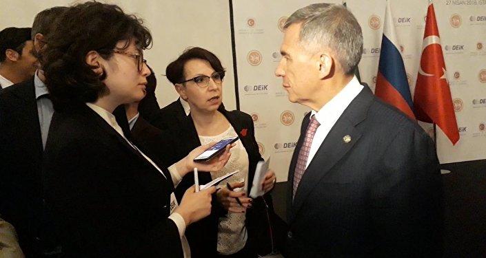 Tataristan Cumhurbaşkanı Minnihanov, Türkiye-Tataristan Forumu'nda Sputnik'in sorularını yanıtladı.