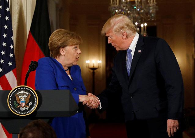 Almanya Başbakanı Angela Merkel ile ABD Başkanı Donald Trump