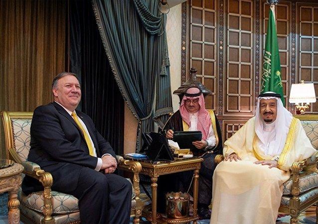 ABD Dışişleri Bakanı Mike Pompeo ile Suudi Arabistan Kralı Selman bin Abdulaziz