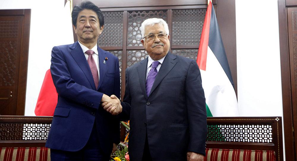 Japonya Başbakanı Şinzo Abe- Filistin lideri Mahmud Abbas