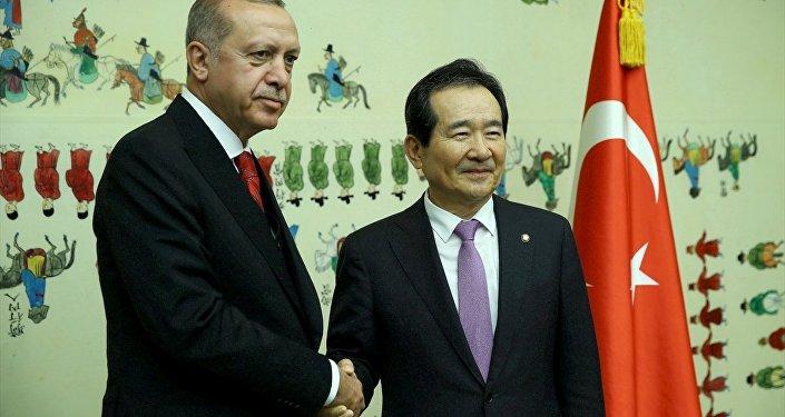 Cumhurbaşkanı Recep Tayyip Erdoğan - Güney Kore Ulusal Meclis Başkanı Chung Sye-kyun