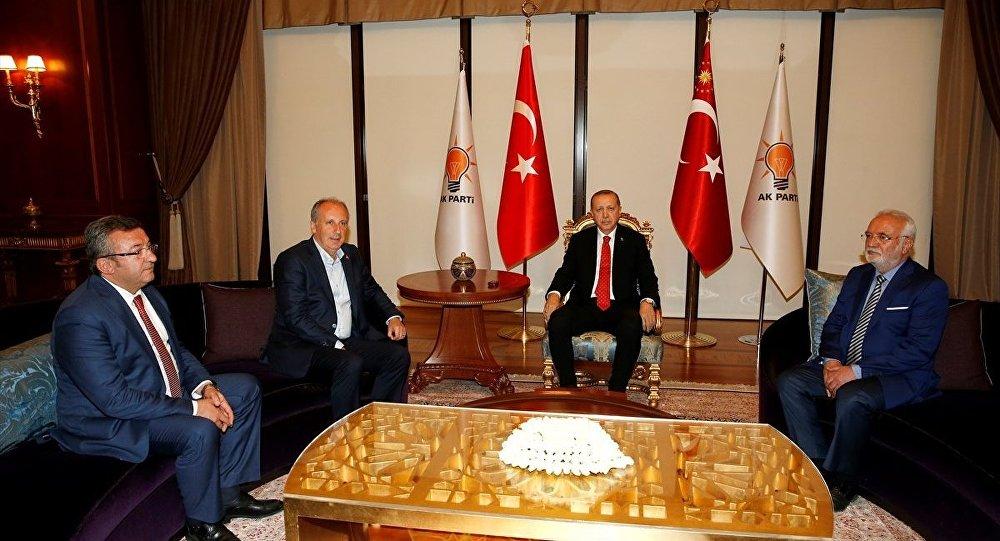 AK Parti Genel Merkezi'ndeki Erdoğan-İnce görüşmesinden.