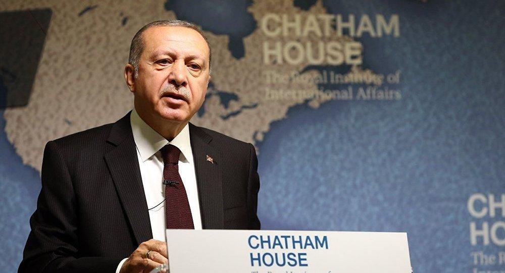 Cumhurbaşkanı Recep Tayyip Erdoğan, düşünce kuruluşu Chatham House'da katılımcılara hitap etti.