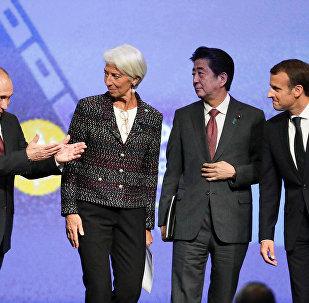 2018 SPIEF'de Putin, Lagard, Abe, Macron