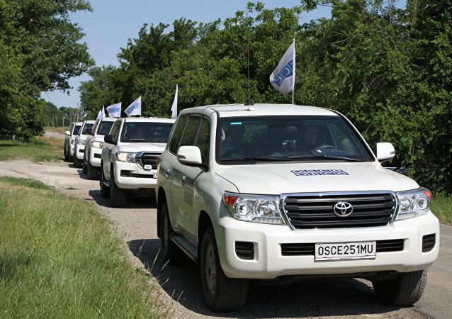 AGİT ve Donetsk Acil Durumlar Bakanlığı'na ait araçlar