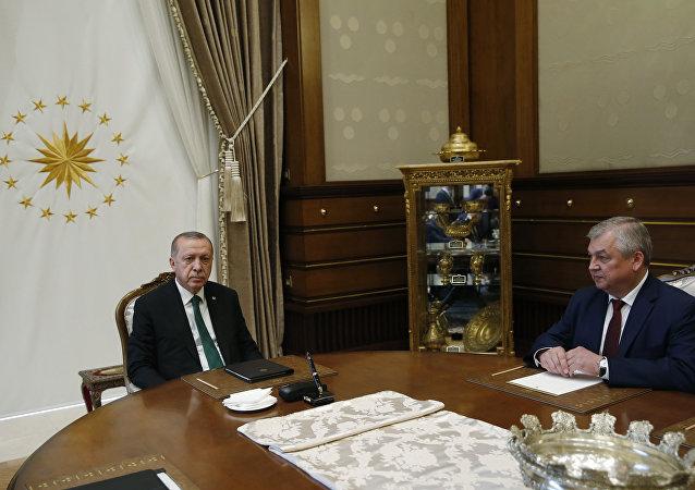 Cumhurbaşkanı Recep Tayyip Erdoğan ve Rusya Federasyonu Devlet Başkanı Vladimir Putin'in Suriye Özel Temsilcisi Alexander Lavrentiyev