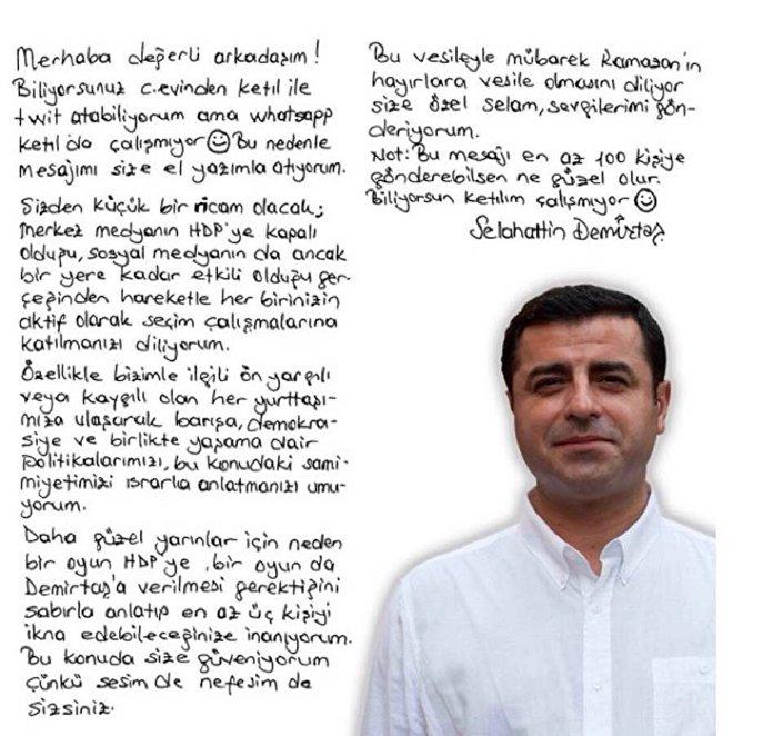 Demirtaş'ın el yazısıyla kaleme aldığı mektup.
