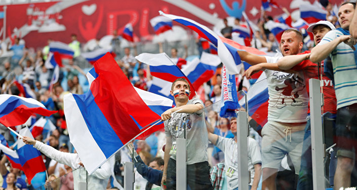 Soccer Football - Russia v New Zealand - FIFA Confederations Cup Russia 2017 - Group A - Saint Petersburg Stadium, St.Petersburg, Russia - June 17, 2017 Russia fans celebrate after the match