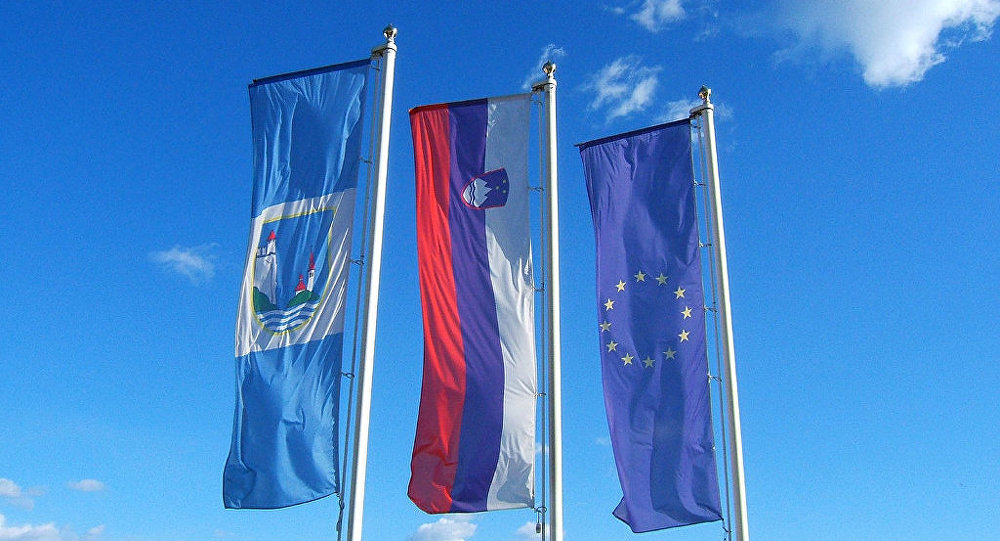 Slovenia EU flags
