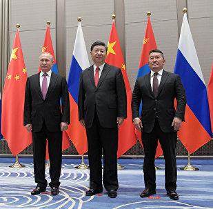 Rusya Devlet Başkanı Vladimir Putin, Çin Devlet Başkanı Şi Cinping, Moğolistan Devlet Başkanı Khaltmaa Battulga