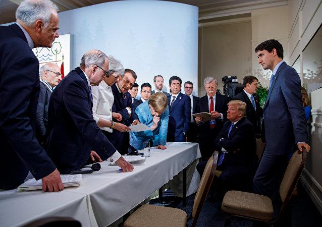 ABD Başkanı Donald Trump- Almanya Başbakanı Angela Merkel- Kanada Başbakanı Justin Trudeau- G7