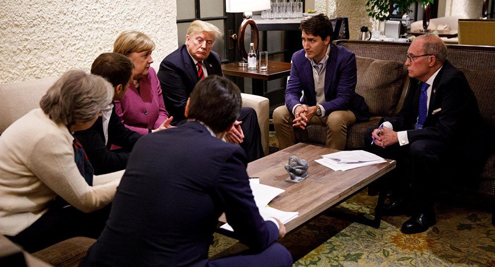 Kanada Başbakanı Trudeau, Almanya Başbakanı Merkel, Fransa Cumhurbaşkanı Macron, İngiltere Başbakanı May ve ABD Başkanı Trump