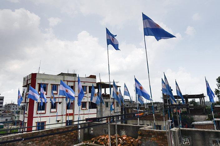 Başkent Dakka'daki Arjantin bayrakları