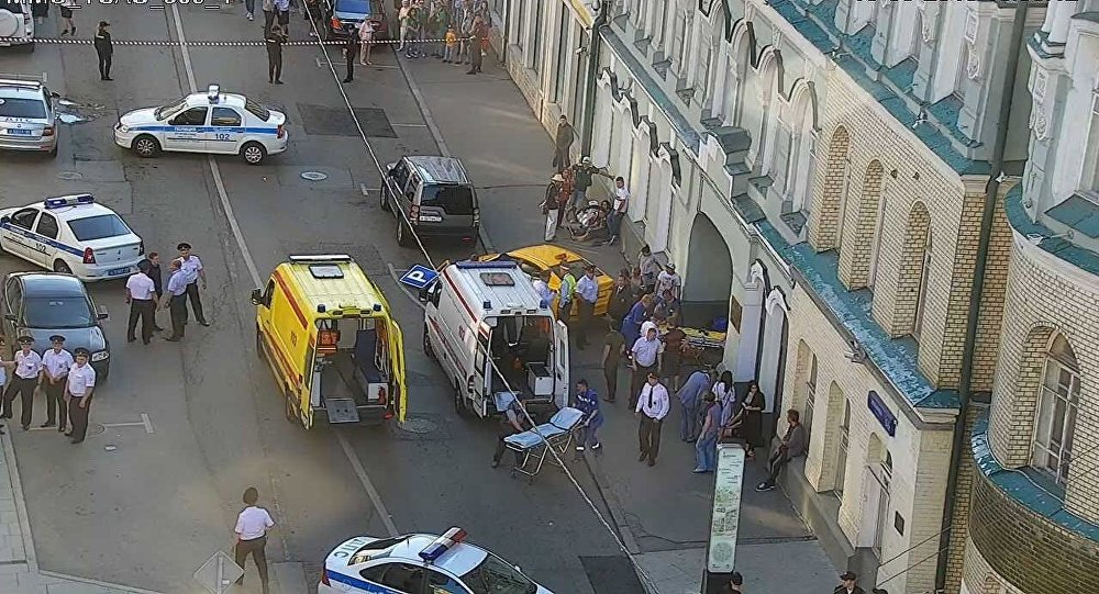 A taxi car rammed into a crowd of people near the Gostiny Dvor shopping center