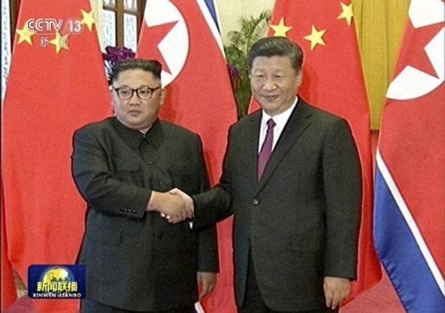 Kuzey Kore lideri Kim Jong-un-Çin Devlet Başkanı Şi Cinping