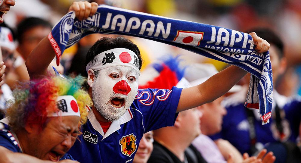 2018 Dünya Kupası'nda ulusal takımını destekleyen bir Japon taraftar