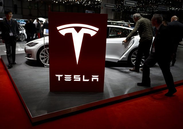 Visitor are seen at the booth of US electric carmaker Tesla Motors, during the press day of the Geneva Car Show on March 4, 2015 in Geneva