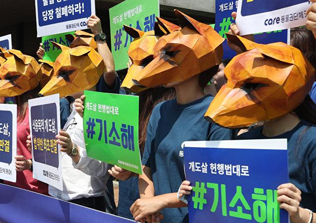Köpeklerin eti için öldürülmesini Güney Kore'deki mahkeme binası önünde protesto eden hayvan hakları aktivistleri