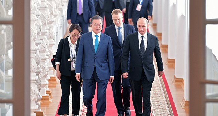 Güney Kore lideri Moon Jae-in- Rusya Devlet Başkanı Vladimir Putin