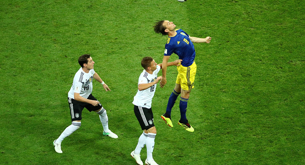 World Cup - Group F - Germany vs Sweden - Fisht Stadium, Sochi, Russia - June 23, 2018 Sweden's Albin Ekdal in action with Germany's Sebastian Rudy and Joshua Kimmich