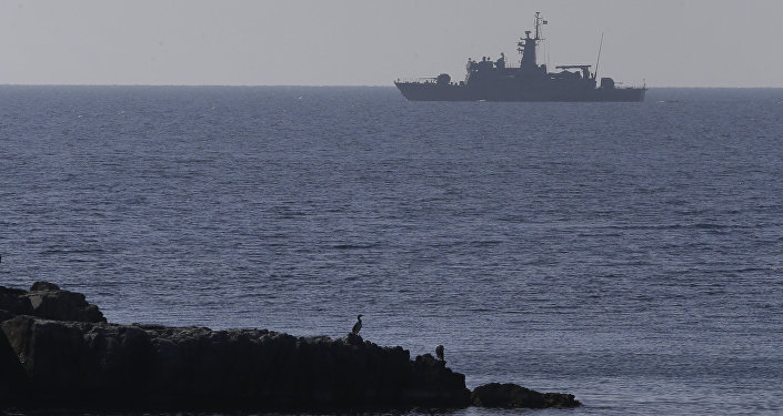 A Greek Navy warship patrols near the eastern Greek Island of Agathonisi and the nearby Turkish shores, on the Aegean Sea (File)