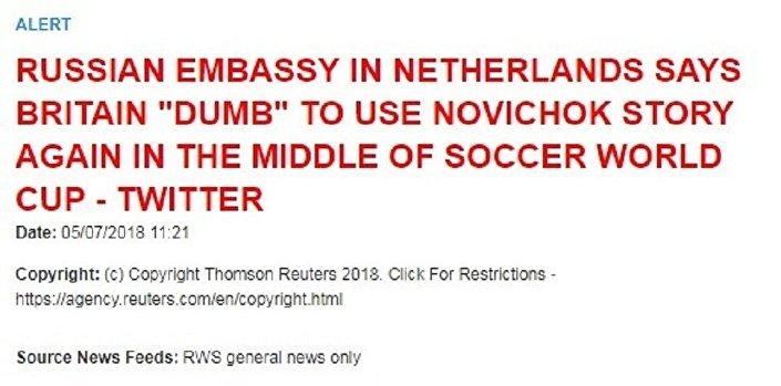 Reuters, Rusya Büyükelçiliği'nin tweetinde 'kayboldu'