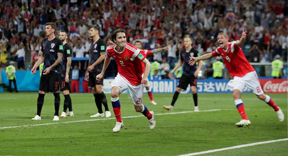 Rusya - Hırvatistan maçında Rusya'nın 2. golünü Mario Fernandes attı