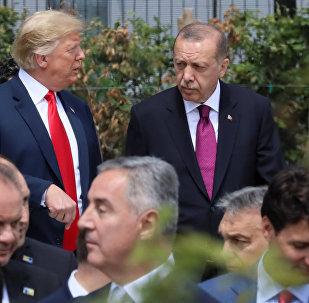 Cumhurbaşkanı Erdoğan, NATO Karargahında seremoni alanına ABD Başkanı Trump ile birlikte gitti. İki lider bir süre ayaküstü sohbet etti.