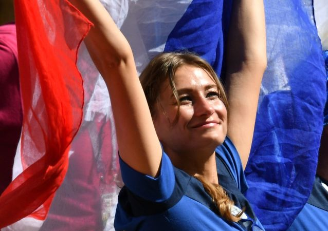 A female fan of the French national team during a group stage match at the FIFA World Cup 2018 between France and Australia.