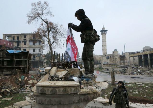 Suriyeli asker, Suriye Bayrağı'nı asıyor