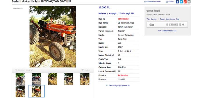 Satılık traktör ilanı.