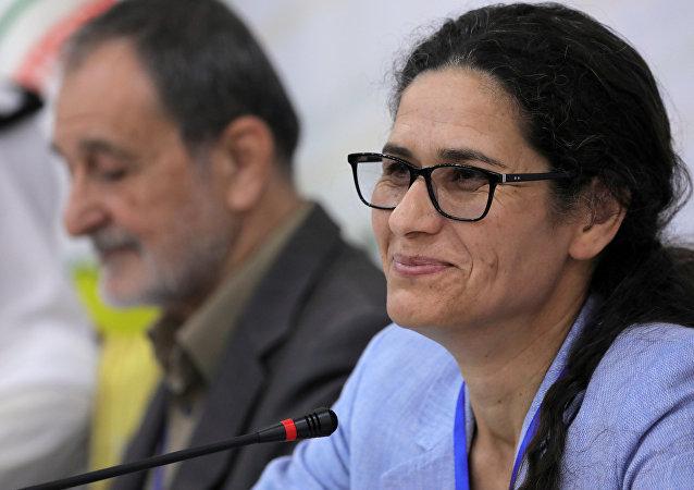Demokratik Suriye Meclisi (DSM) Eşbaşkanları Riad Darar ile İlham Ahmed (sağda)