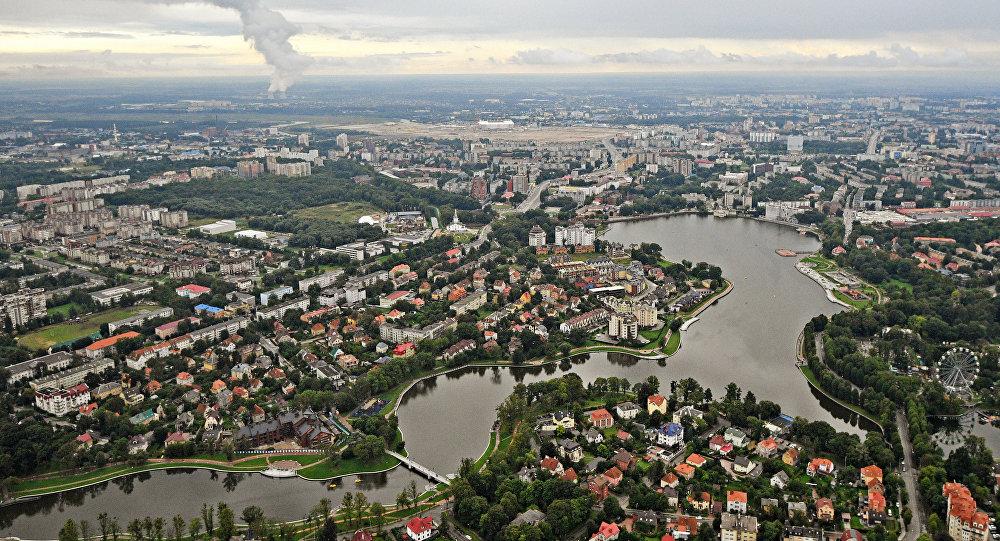 Kaliningrad'ın helikopterden görünüşü.