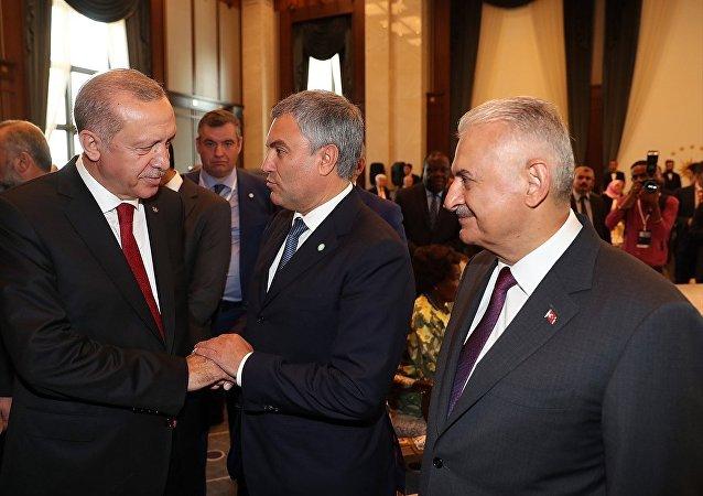 Türkiye Cumhurbaşkanı ve AK Parti Genel Başkanı Recep Tayyip Erdoğan ve Rusya Federasyonu Devlet Duması Başkanı Vyaçeslav Volodin