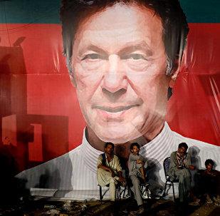 Pakistan'da başbakan seçilen İmran Han'ın mitinginden bir enstantane