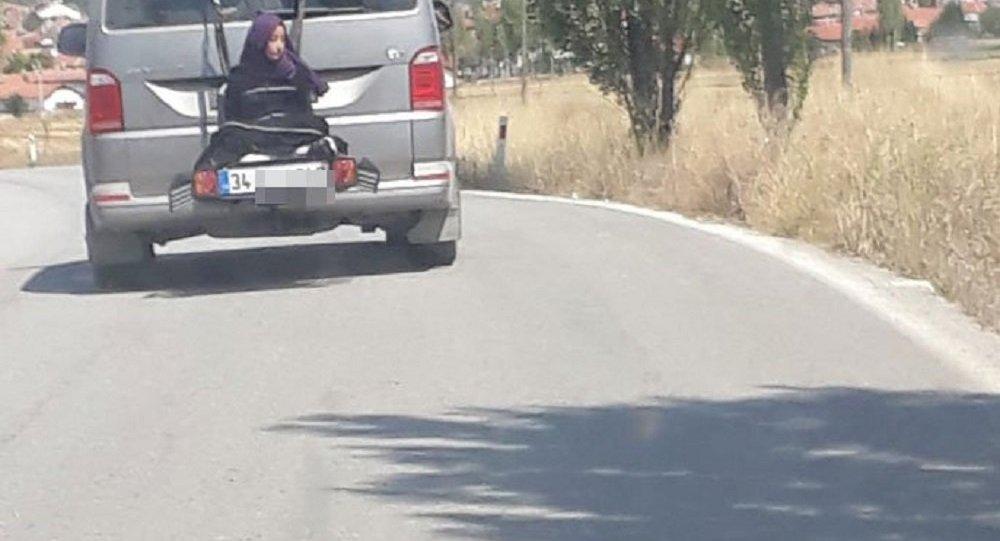 Çankırı'da aracın arkasına bağlanan kadın