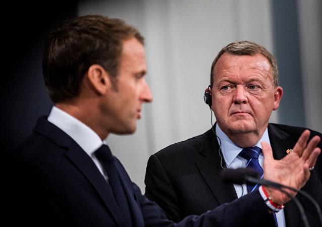 Fransa Cumhurbaşkanı Emmanuel Macron ve Danimarka Başbakanı Lars Lökke Rasmussen