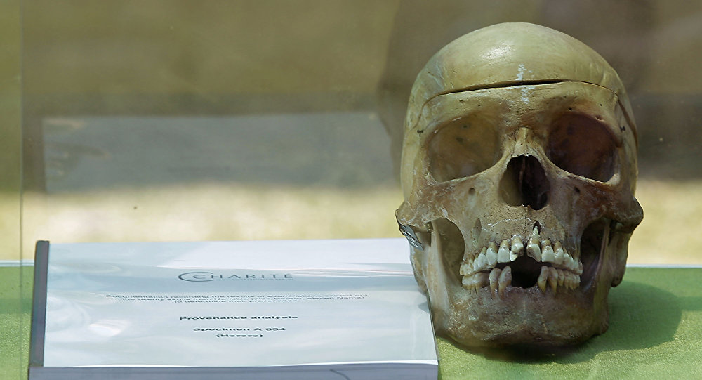 ome the skulls of ancestors taken to Germany for racist experiments more than a century ago. The skulls are testimony to the horrors of colonialism and German cruelty against our people, Prime Minister Nahas Angula said at an airport ceremony, The Namibian nation accepts these mortal remains as a symbolic closure of a tragic chapter.