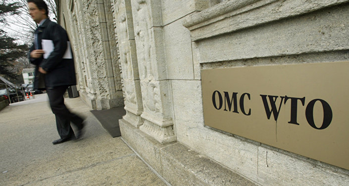 A person gets out of the World Trade Organization (WTO) headquarter in Geneva (File)