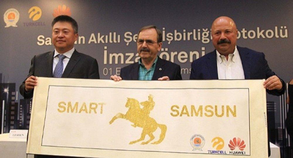 Turkcell ve Huawei, Samsun'da akıllı şehir için protokole imza attı