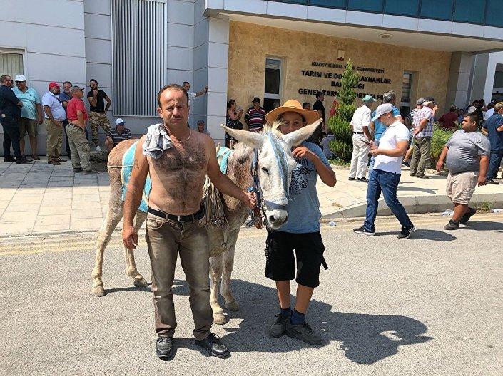 Katırlar ve traktörlerle gelen eylemciler, Tarım Bakanı'nı istifaya çağırdı.