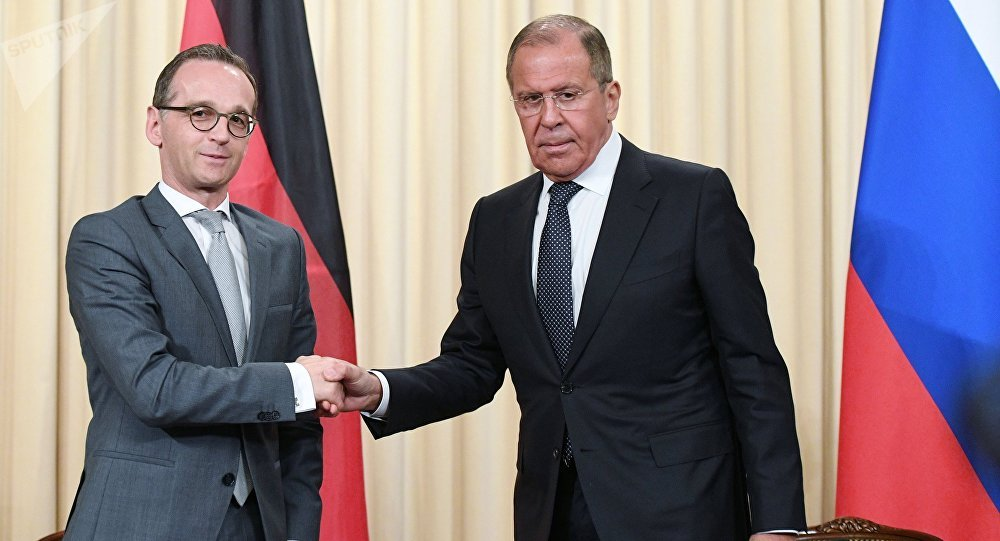 Russian Acting Foreign Minister Sergei Lavrov and German Foreign Minister Heiko Maas, left, at a joint news conference following a meeting at the Russian Foreign Ministry Reception House