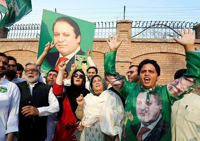 Eski Pakistan Başbakanı Navaz Şerif destekçileri