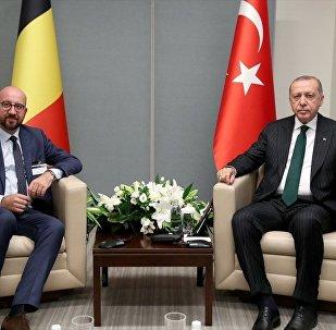 Belçika Başbakanı Charles Michel ile Türkiye Cumhurbaşkanı Recep Tayyip Erdoğan