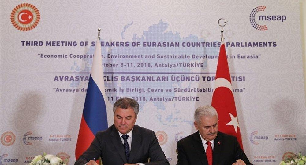Duma Başkanı Vyaçeslav Volodin ve TBMM Başkanı Binali Yıldırım