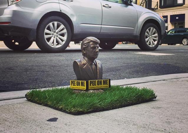 New York'ta köpeklerin işeyebilmesi mini Trump heykeli açıldı