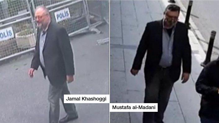 CNN, Kaşıkçı'nın konsolosluğa giriş yapması, Kaşıkçı numarası çeken Medani'nin ise konsolosluktan çıkış  yapıp İstanbul'da dolaşmasının görüntülerini yayımladı.